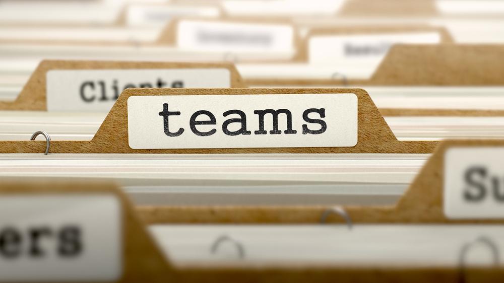 Teams Concept. Word on Folder Register of Card Index. Selective Focus.